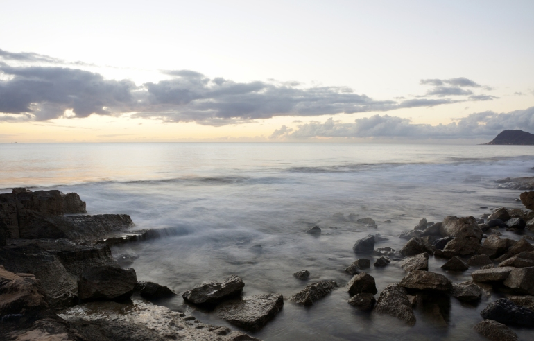 Hawaiian Vacation_Sunset Ocean rocks long exposure